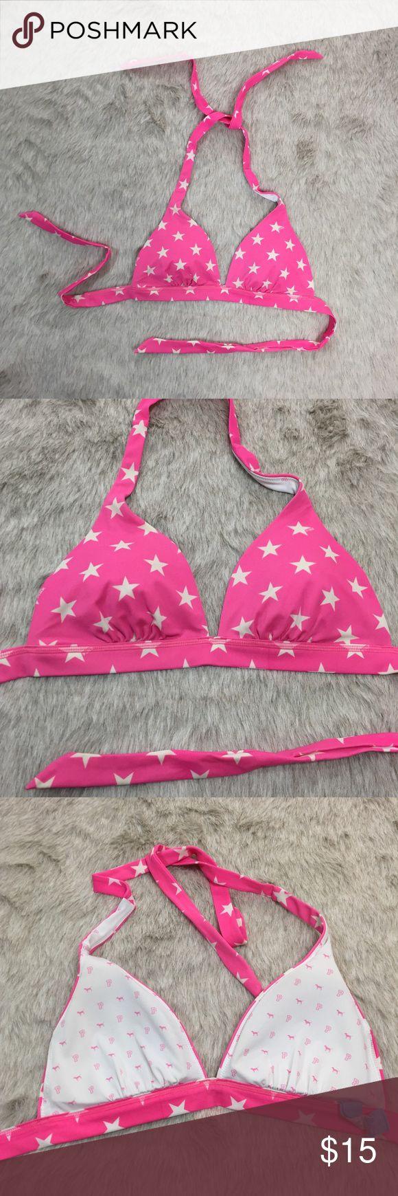 VS Pink star print triangle tie bikini top S Pre-loved VS Pink triangle tie bikini top with star print. Dog print inside. Removable pads in the cups. PINK Victoria's Secret Swim Bikinis