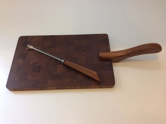 ESA Denmark Teak Cheese Board with Slicer.  Mid Century Staved Teak.  Made in Denmark.  Slicer is teak and stainless.  EXCELLENT on Etsy, $59.99