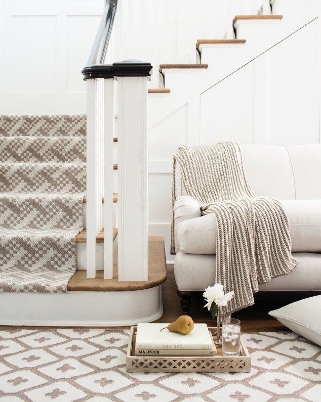 On The Stairs: Hudson Sand Indoor/outdoor Rug From Dash And Albert. Made Of  PET, A Polyester Fiber Made From Recycled Plastic Bottles.