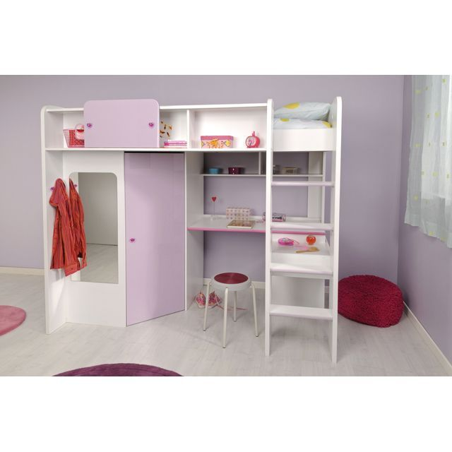 demoiselle lit mezzanine 90 x 200 cm bureau tag res armoire bois blanc et laqu violet. Black Bedroom Furniture Sets. Home Design Ideas