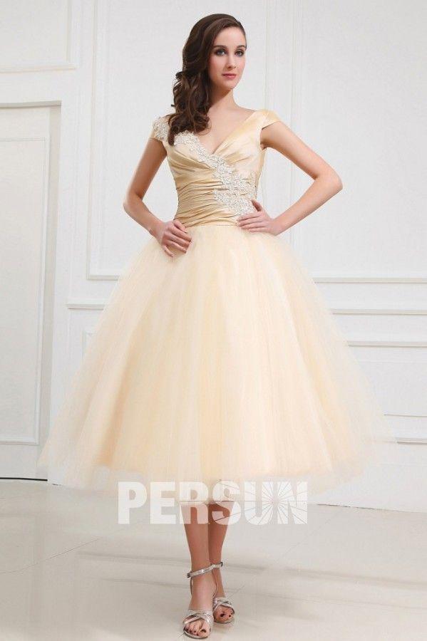 Palais colorié robe de mariée mi-mollet appliques ruchée en tulle