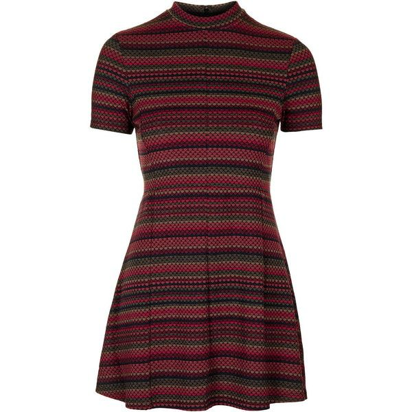 TOPSHOP PETITE Exclusive Spot Stripe Flippy Dress ($65) ❤ liked on Polyvore featuring dresses, topshop, vestidos, multi, petite, stripe dress, polka dot dress, retro polka dot dress, dot dress and retro style dresses