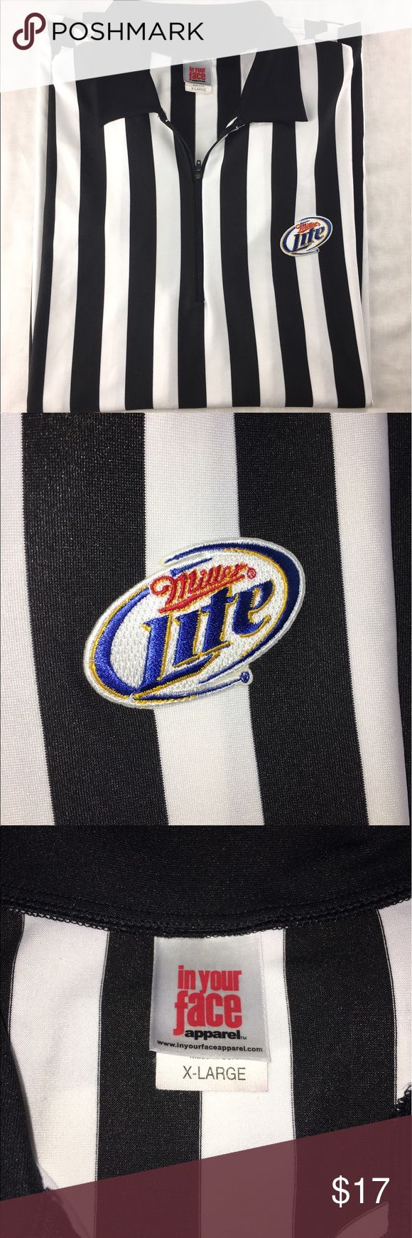 Men's Referee Shirt XL Black And White Miller Lite Men's Size XL black and white striped Miller Lite referee shirt Length: 31.5 inches Waist: 23.5 inches Underarm to Underarm: 23.25 inches Make me an offer ! In Your Face Shirts Tees - Short Sleeve