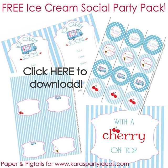 Ice Cream Party via www.karaspartyideas.com. FREE ice cream party printables / downloads!