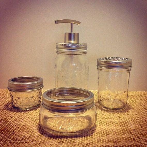 Salle de bain salle de bain accessoires-Mason Jar définie 4pc-Mason Jar salle de bains-Mason Jar savon distributeur - distributeur de savon - brosse à dents titulaire-Mason Jar