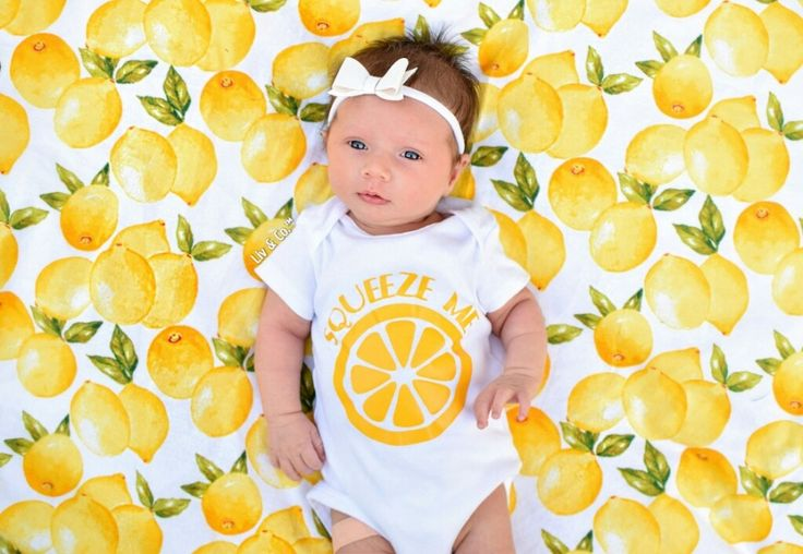 You know the old adage...  When life gives you lemons...  We bring you our handmade 32x32 lemons flannel baby swaddle blanket & our signature 'squeeze me' baby bodysuit.