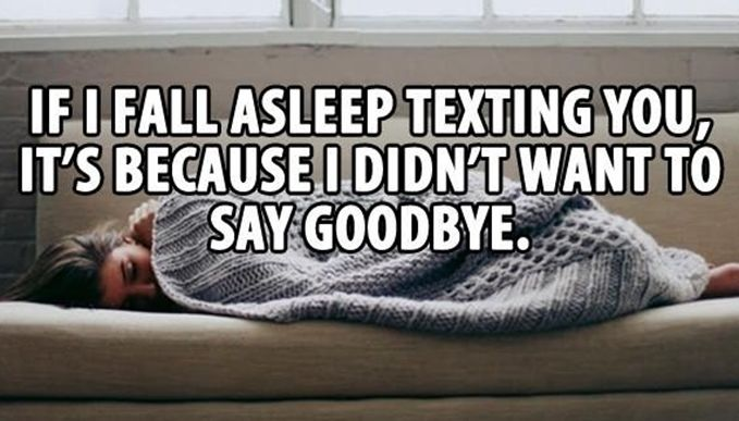 Love: This image is true to me being in a long distance relationship. I never want to say goodnight to her so we just keep texting until one of us falls asleep first. I always want to spend time with her.