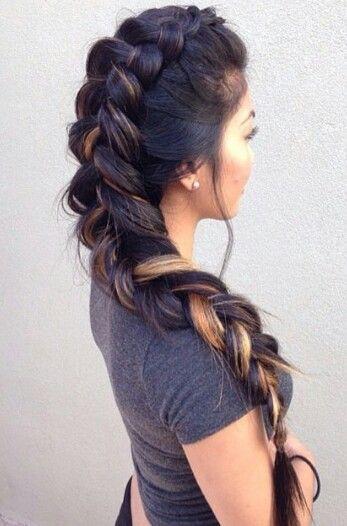 Oversized Mohawk braided back hairstyle