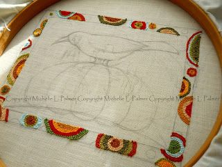 Michelle Palmer punch needle crow and pumpkin wip fall harvest
