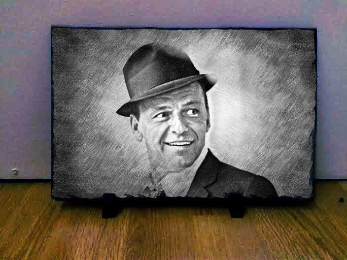 "Frank Sinatra Sketch Art Portrait on Slate 12x8"" Rare memorabilia collectables"