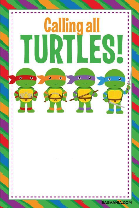 photo relating to Printable Ninja Turtle Invitations identify No cost Absolutely free Printable Ninja Turtle Birthday Social gathering Invites