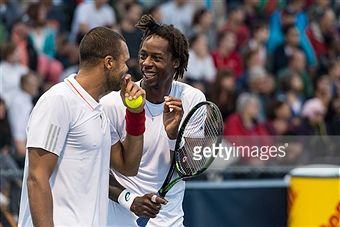 #TsongaMonfils #Tsonga #Monfils #tennis Jo-Wilfried Tsonga and teammate Gael Monfils of France have a laugh during day two of the Rogers Cup against Lleyton Hewitt and Nick Kyrgios of Australia at Uniprix Stadium on August 11, 2015 in Montreal, Quebec, Canada. Getty Images: Minas Panagiotakis
