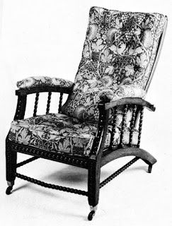 Before Gustav Stickley, the Morris Chair was a frilly Victorian reclining chair with turned legs, spindles, and dramatic textiles. #artsandcrafts #craftsman #williammorris #materialsunlimited