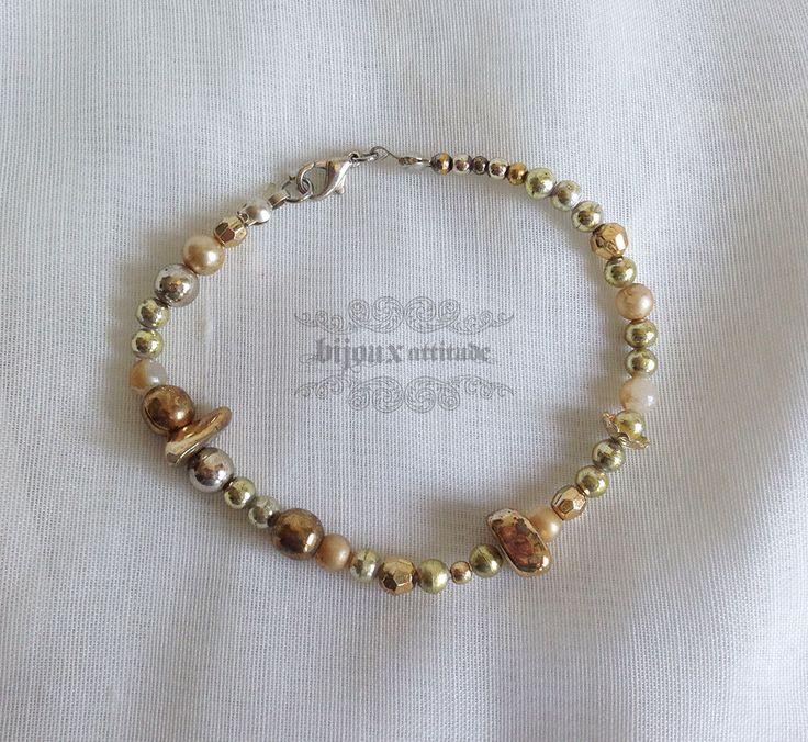 Bracelet doré versatile tout-aller à agencer - bijou couleur or en pépite et perles variées by BijouxAttitude on Etsy