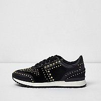Faux suede fabric upper Stud embellishment Lace-up fastening Contrast cleated sole