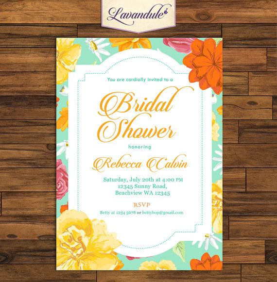 Bridal Shower Summer Flower_inv_012 by Lavandule on Etsy