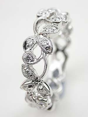 diamond wedding ring with vine and leaf motif rg 3475b - Leaf Wedding Ring