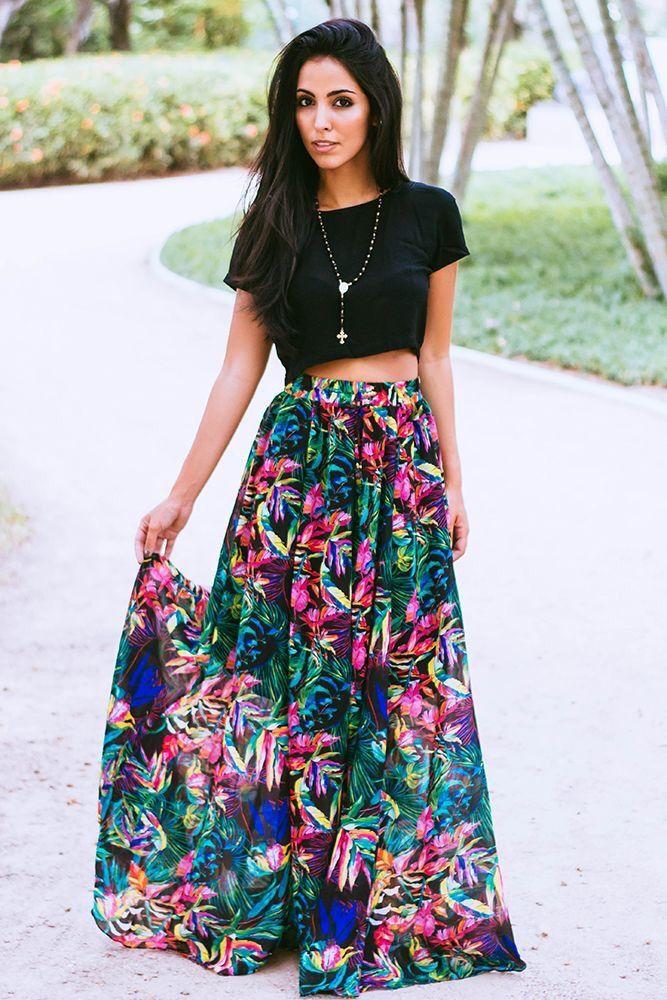 long floral skirt + short sleeve shirt