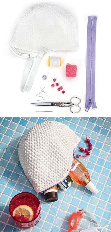 DIY Une pochette pour la piscine. (http://www.muyingenioso.com/estuche-reciclando-un-gorro-de-piscina/)