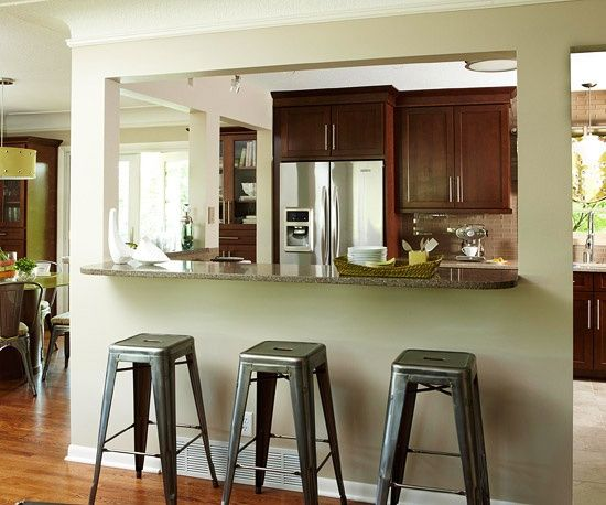 Wall opening kitchen passthrough living room kitchen - Living room bar ideas ...
