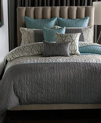 Bryan Keith Bedford 9 Piece Reversible Comforter Set Macys grey and turquoise