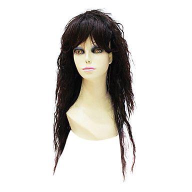 Capless High Quality Synthetic Janpanese Kanekalon Long Darkest Brown Curly Hair Wig