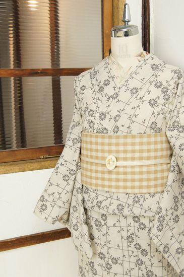 蒸栗色に雛菊の花垣格子が美しいレトロ浴衣 - アンティーク着物