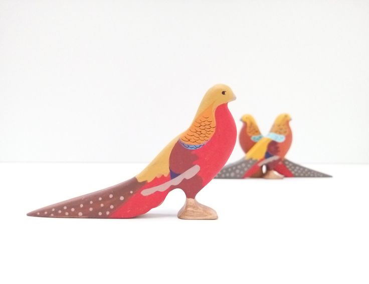 Wooden golden pheasant toy Birds toys Wooden Bird toy Pretend play Bird toy figurine Learning toys for toddlers by WoodenCaterpillar on Etsy