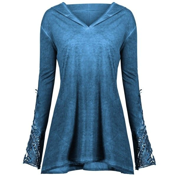 Crochet Insert Plus Size Hoodie ($17) ❤ liked on Polyvore featuring tops, hoodies, rosegal, shirt's, shirt hoodies, women's plus size hooded sweatshirts, plus size hoodie, plus size hoodies and plus size womens hoodie