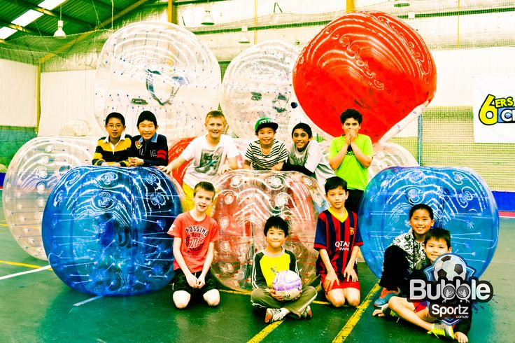Kids have a fantastic time playing sports in the zorb bubbles as part of birthday parties.
