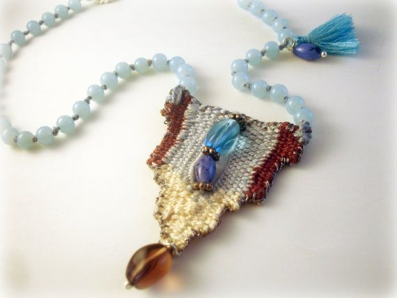 blue handwoven short necklace/ fabric pendant/ boho/ hippie chic jewelry/ needleweaved pendant/ gift/ greek jewelry /One-of-a-kind