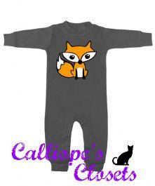 Fox Long Sleeve Charcoal Romper