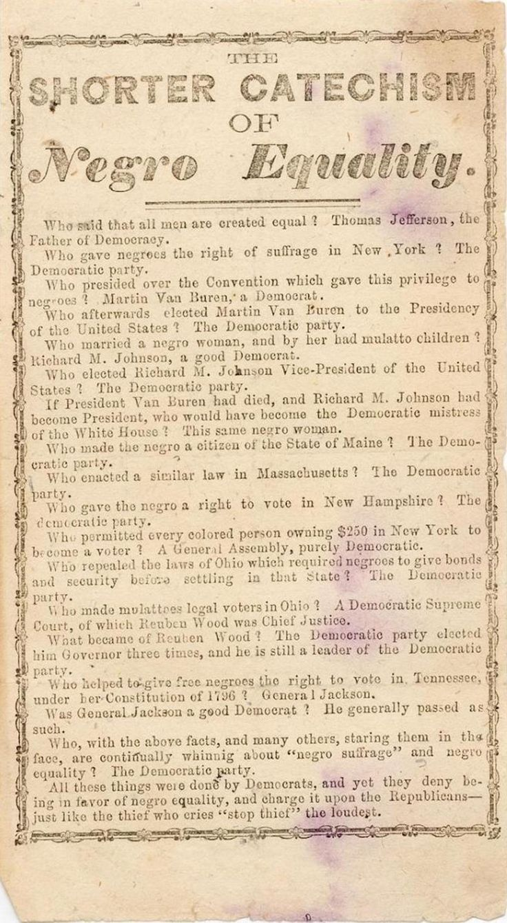 """Republican Party Broadside Listing Democratic Support for """"Negro Equality,"""" 1855"""