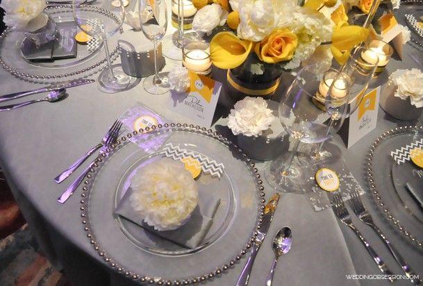 Table gris jaune mariage