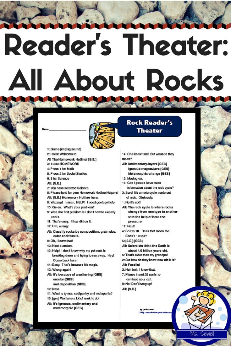 Use this reader  39 s theater script to review your study of rocks  As you practiced  students chose sound effects  s e   and gestures  ges  to enhance the theatrical experience    The script has students practice reciting information about the three types of rocks  sedimentary  igneous and metamorphic   how to classify rocks  weathering  erosion  and deposition  the rock cycle  as well as the age of the Earth  It  39 s a quick review to help build vocabulary and practice terms