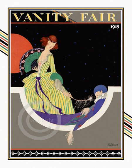Whimsical art deco vanity fair cover print by for Magazine deco