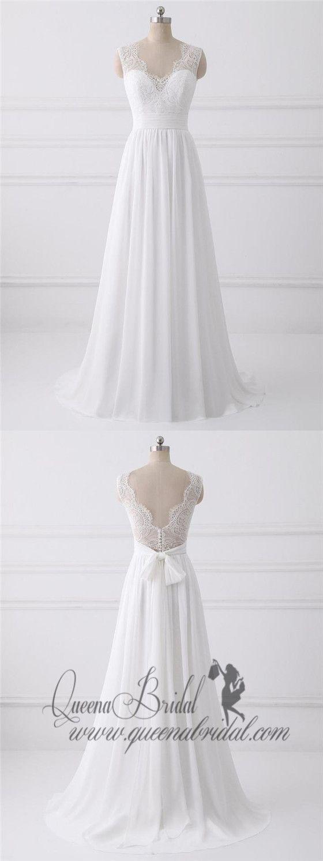 Lace strap wedding dress  V Neck Lace Straps Simple Custom Cheap Beach Wedding Dresses WD