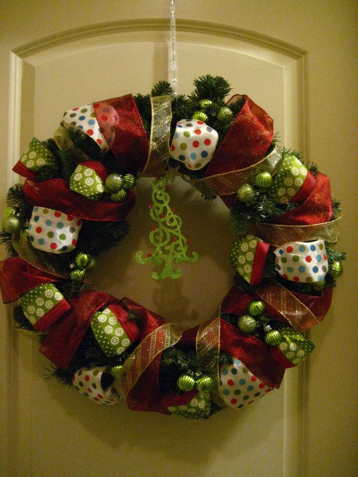 Nice and simple wreath. She wired everything on and it worked fine. It's been my experience that a little wire and a lot of hot glue helps decoration to last for years, at least until you're sick of them. This is perfect for a 1st time wreath maker.
