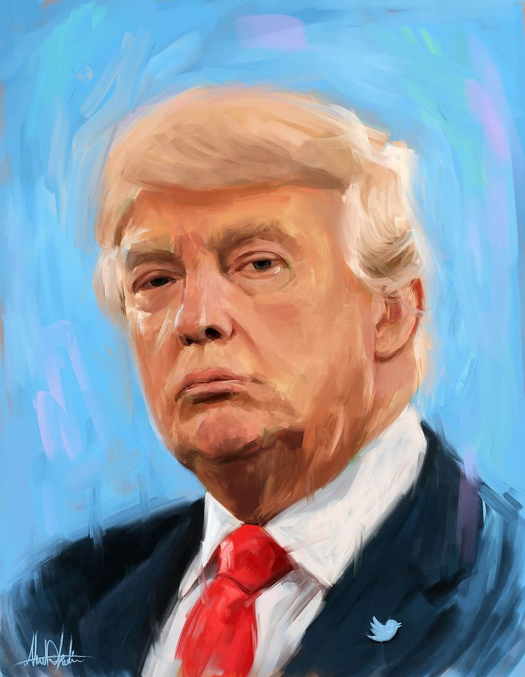 portrait painting for Donald Trump Worth 2 Billion dollars To Twitter with blue background drawing by artist graphic designer in Dubai Ahmad Kadi