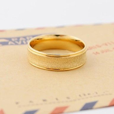 Classic Gold homorú él Unisex 's Scrub Titanium Steel Ring – USD $ 9.99