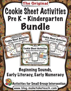 Cookie sheet activities for ABC Order, Rhyme, Word Building, Early Numeracy and Beginning Sounds. Great for centers. $