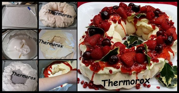 Christmas Pavlova Wreath  Learn how to do it here :- https://www.facebook.com/Thermorox/photos/a.616723258388816.1073741845.578853625509113/809190855808721/?type=1&theater