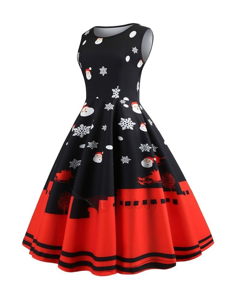 Printed Christmas Dress Flared Sleeveless   – Women Accessories