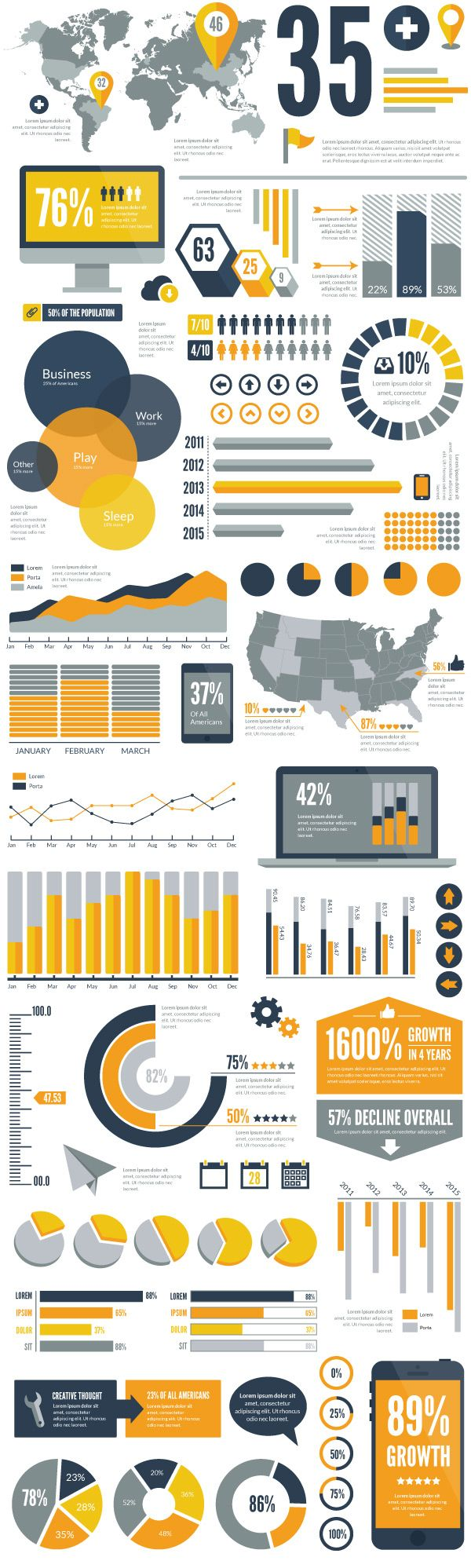 Infographics / Stats / Large Type /// Flat Vector Infographic Elements