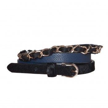 Curea Safari - Albastru Cureaua Safari este un accesoriu inedit, care imbina cu succes culorile albastru si negru, avand elemente decorative alcatuite dintr-un lant metalic si par de ponei. Aceasta curea iti pune in valoare atat silueta, cat si tinuta.