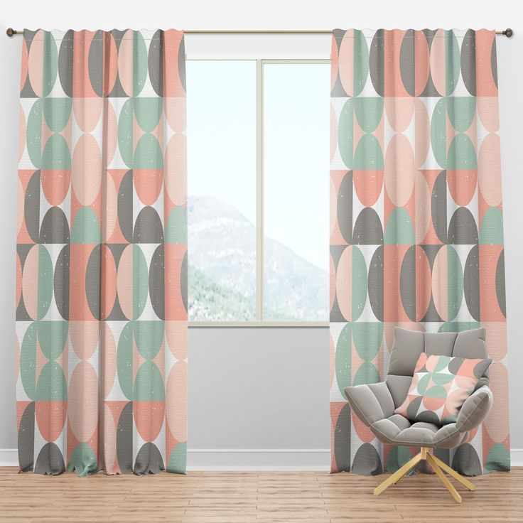 "Retro Geometric Mid Century Design Blackout Curtains 100/"" x 84/"" Window Treatment"
