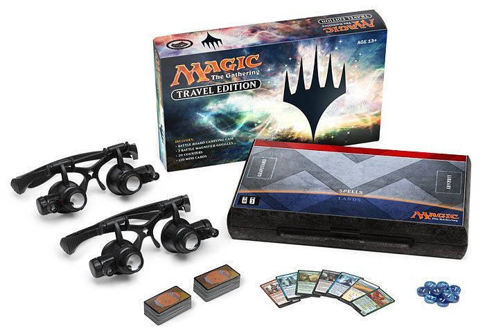 Thinkgeek april fool's product: With 120 mini cards, Magic: The Gathering - Travel Edition has all the fun of your standard Magic deck, now in super-concentrated form. The carrying case itself turns into a Battle Board with integrated playmat and life counters for a head-to-head duel.