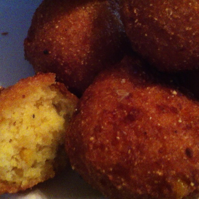 Easiest yummiest corn fritters. One box jiffy corn bread mix, one can creamed corn (which totally doesn't have cream in it) and one egg. I also added about 1/4-1/3 cup flour. Refridg. while the deep fry veg. oil heats. Fry TBSP size balls at 350 for about 5 min. So easy. So fritter good!