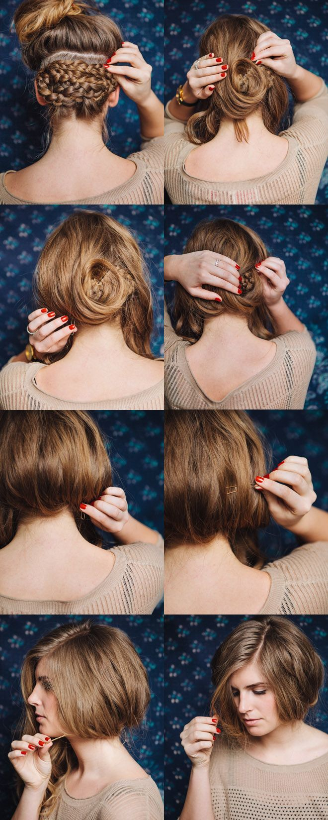 One way to turn our long hair short for era appropriate dos:    She Lets Her Hair Down: Tutorial :: A Bob for a Day