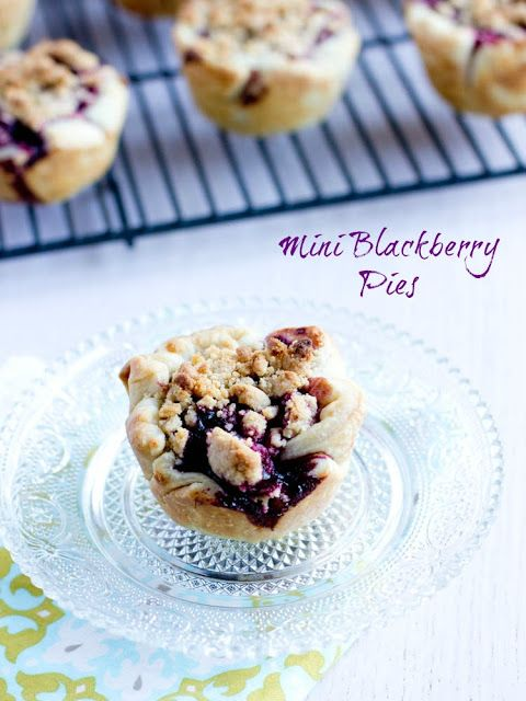 Mini Blackberry Pies. Getting all the goodness of a full sized pie in a bite size little morsel! ohsweetbasil.com